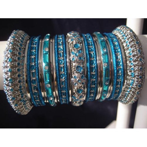 Primary image for Indian Bridal Collection Panache' Indian Turquoise Bangles Set in Silver Tone By