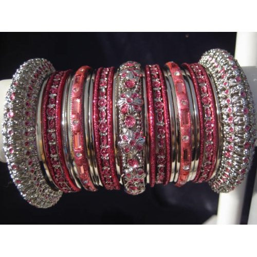 Primary image for Indian Bridal Collection Panache' Indian English Rose Bangles Set in Silver Tone