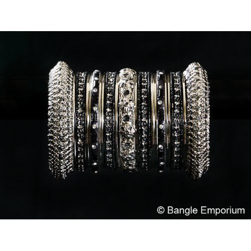 Primary image for Indian Bridal Collection Panache' Indian Black Bangles Set in Silver Tone By Ban
