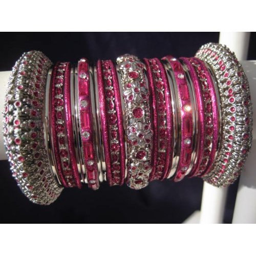 Indian Bridal Collection Panache' Indian Hot Pink Bangles Set in Silver Tone By