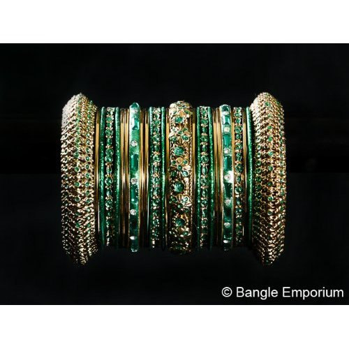 Primary image for Indian Bridal Collection Panache' Indian Green Bangles Set in Gold Tone By Bangl
