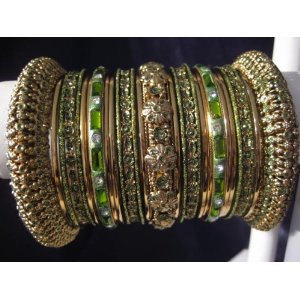 Primary image for Indian Bridal Collection Panache' Indian Henna Green Bangles Set in Gold Tone By