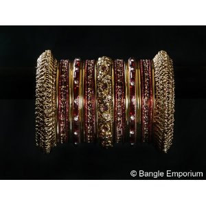 Primary image for Indian Bridal Collection Panache' Indian Maroon Bangles Set in Gold Tone By Bang