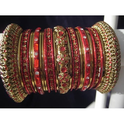 Primary image for Indian Bridal Collection Panache' Indian Red Bangles Set in Gold Tone By BangleE