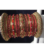 Indian Bridal Collection Panache' Indian Red Bangles Set in Gold Tone By... - $39.99