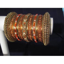 Indian Bridal Collection Panache' Indian Orange Bangles Set in Gold Tone... - $39.99