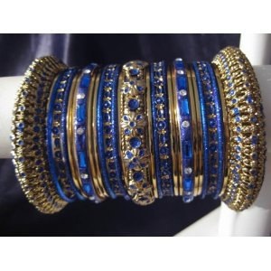 Indian Bridal Collection Panache' Indian Dark Blue Bangles Set in Gold Tone By B