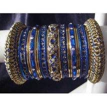 Indian Bridal Collection Panache' Indian Dark Blue Bangles Set in Gold T... - $39.99