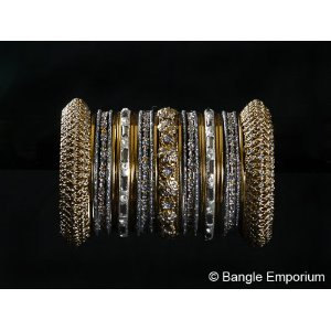 Indian Bridal Collection Panache' Indian Grey Bangles Set in Gold Tone By Bangle