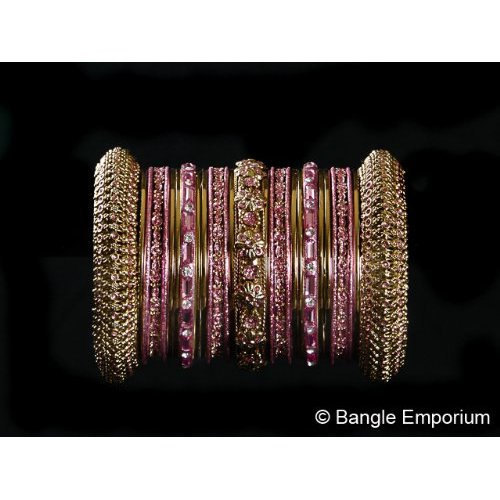 Primary image for Indian Bridal Collection Panache' Indian English Rose Bangles Set in Gold Tone B