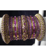 Indian Bridal Collection Panache' Indian Purple Bangles Set in Gold Tone... - $39.99