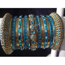 Indian Bridal Collection Panache' Indian Turquoise Bangles Set in Gold Tone By B - $39.99