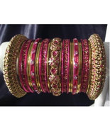 Indian Bridal Collection Panache' Indian Hot Pink Bangles Set in Gold To... - $39.99