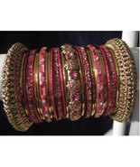 Indian Bridal Collection Panache' Indian Pink Bangles Set in Gold Tone B... - $39.99