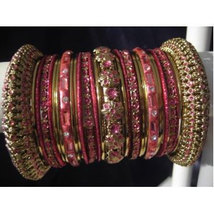 Indian Bridal Collection Panache' Indian Pink Bangles Set in Gold Tone By Bangle - $39.99