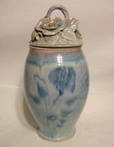 Large Studio Art Pottery Jar Hand Thrown and Built Ceramic Floral Motif ... - $209.38