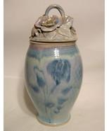 Large Studio Art Pottery Jar Hand Thrown and Built Ceramic Floral Motif ... - $209.38