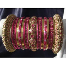 Indian Bridal Collection Panache' Indian Hot Pink Bangles Set in Gold Tone By Ba - $39.99
