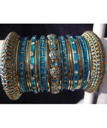 Indian Bridal Collection Panache Indian Turquoise Bangles Gold Tone Chic... - $39.99