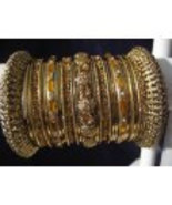 2.8 Indian Bridal Collection Panache' Indian Gold Bangles Set in Gold To... - $39.99