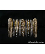 2.6 Indian Bridal Collection Panache' Indian Grey Bangles Set in Gold Tone - $39.99