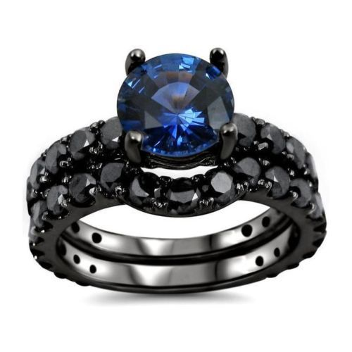 Primary image for Ladies Special Design RD Blue Sapphire 14k Gold Fn Bridal Ring Set Free Shipping