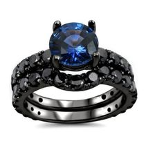 Ladies Special Design RD Blue Sapphire 14k Gold Fn Bridal Ring Set Free Shipping - $84.27