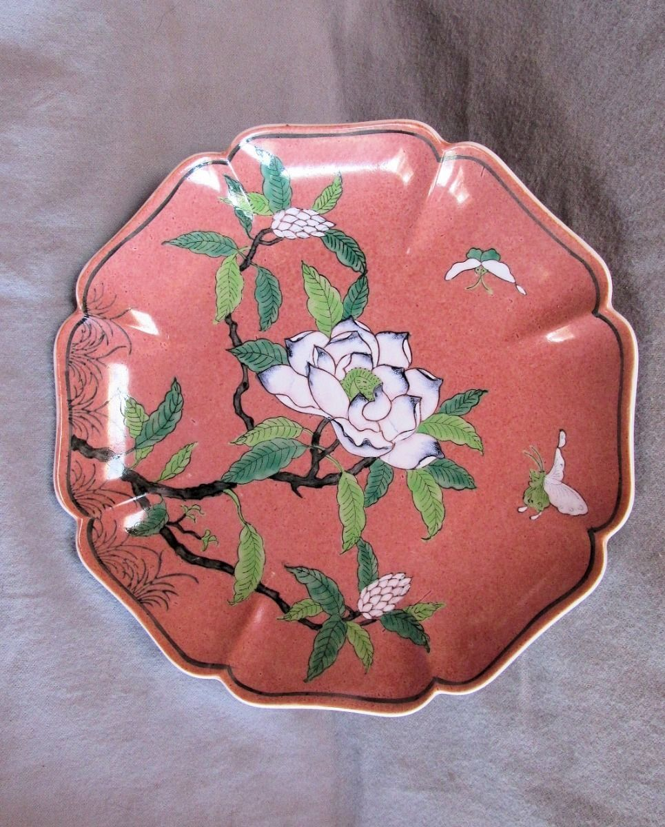 Vintage Nora Fenton Deep Scalloped Edge Dark Pink Floral Dish - $12.19