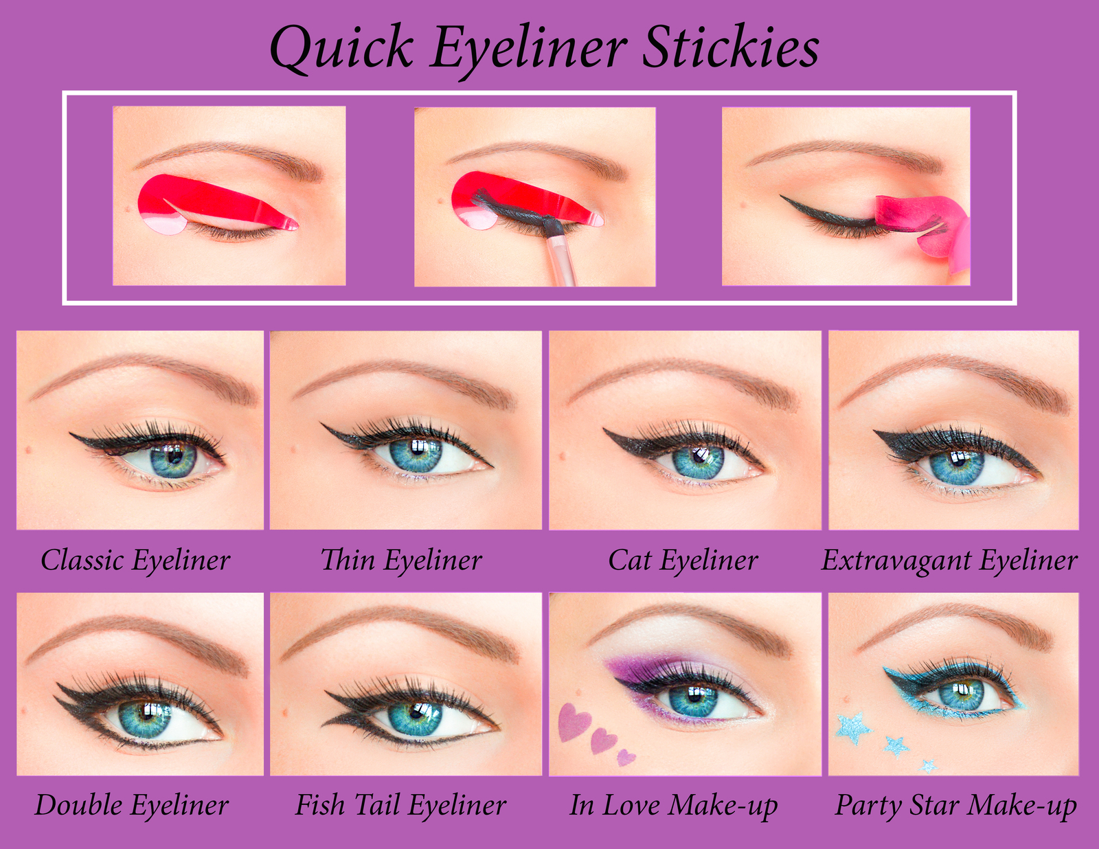 Quick Eyeliner Stickies Stencils Cosmetic Eye Makeup Tool NEW Free Shipping