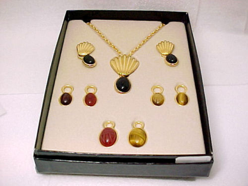 Primary image for QVC Carved Gemstone SCARAB Necklace and Earrings BOX SET - Interchangeable