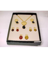 QVC Carved Gemstone SCARAB Necklace and Earrings BOX SET - Interchangeable - $65.00