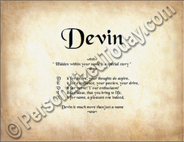 Devin Hidden Within Your Name Is A Special Story Letter Poem  8.5 x 11 P... - $8.95