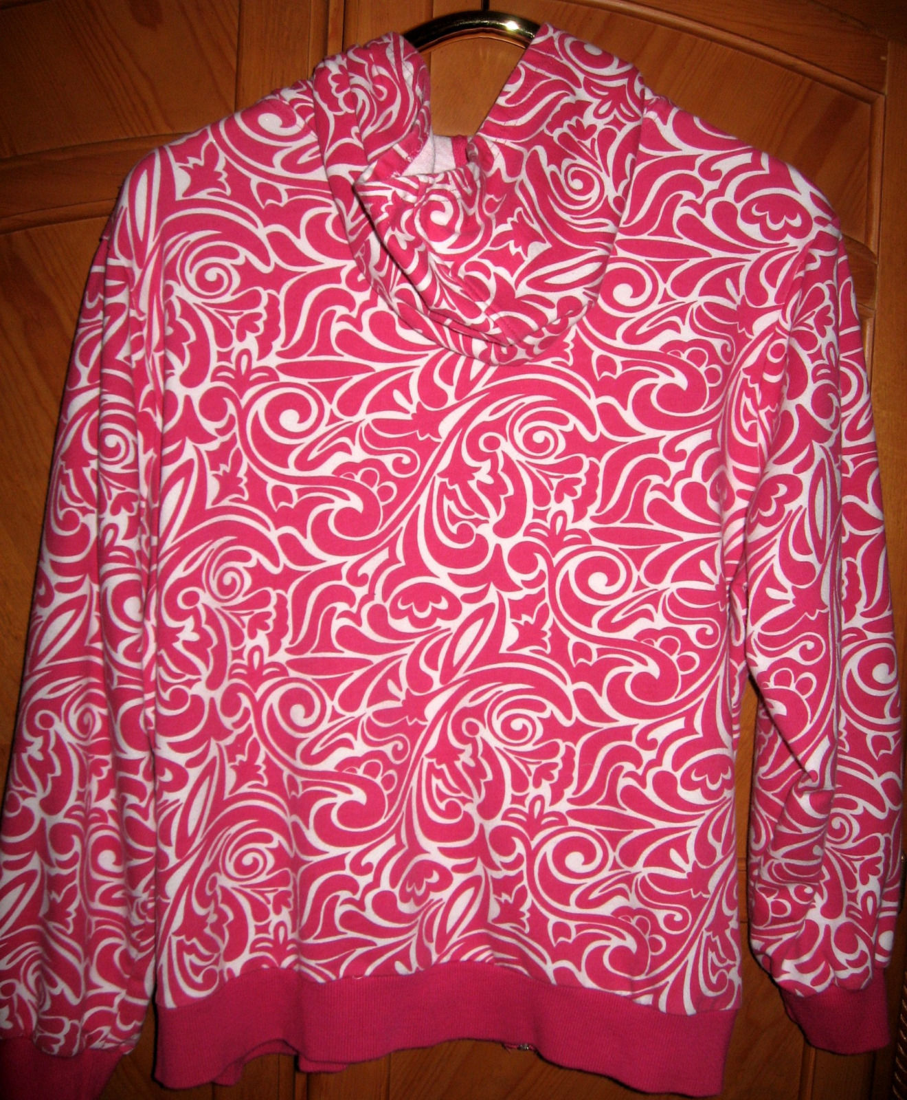 Pink and White Artsy Hooded Sweatshirt/Jacket, 2X, Bust 53""