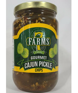 7 Farms Gourmet Cajun Pickle Chips in a pint glass jar - $16.82