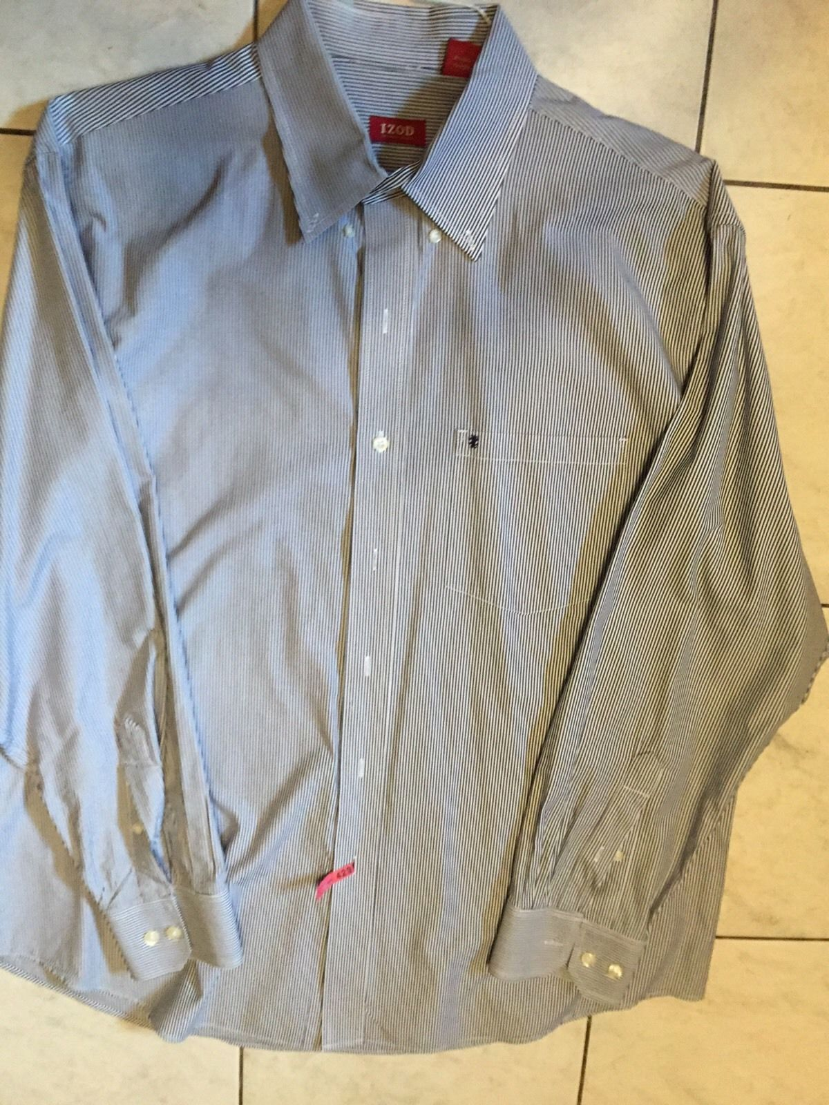Izod Mens Pinstripe Long Sleeve Button Down Dress Shirt Blue/White size L EUC
