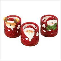 3 PIECE SANTA CHRISTMAS HOLIDAY CANDLE HOLDER - $29.99