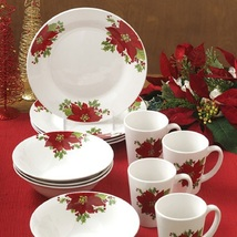 Christmas Holiday Poinsettias Red 12 Piece Dinnerware Set Service for 4 - $129.99