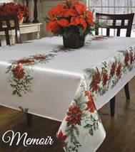 Christmas Memories Poinsettias Red Holly And Berry Printed Holiday Tablecloth    - $39.99
