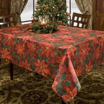 Christmas Holiday  Red Poinsettias  Elegance Tablecloth (New) - $29.69+