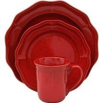 Beautiful Elegant  16 Piece Fluted Red Garnet Dinnerware Set Service for 4 - $189.99
