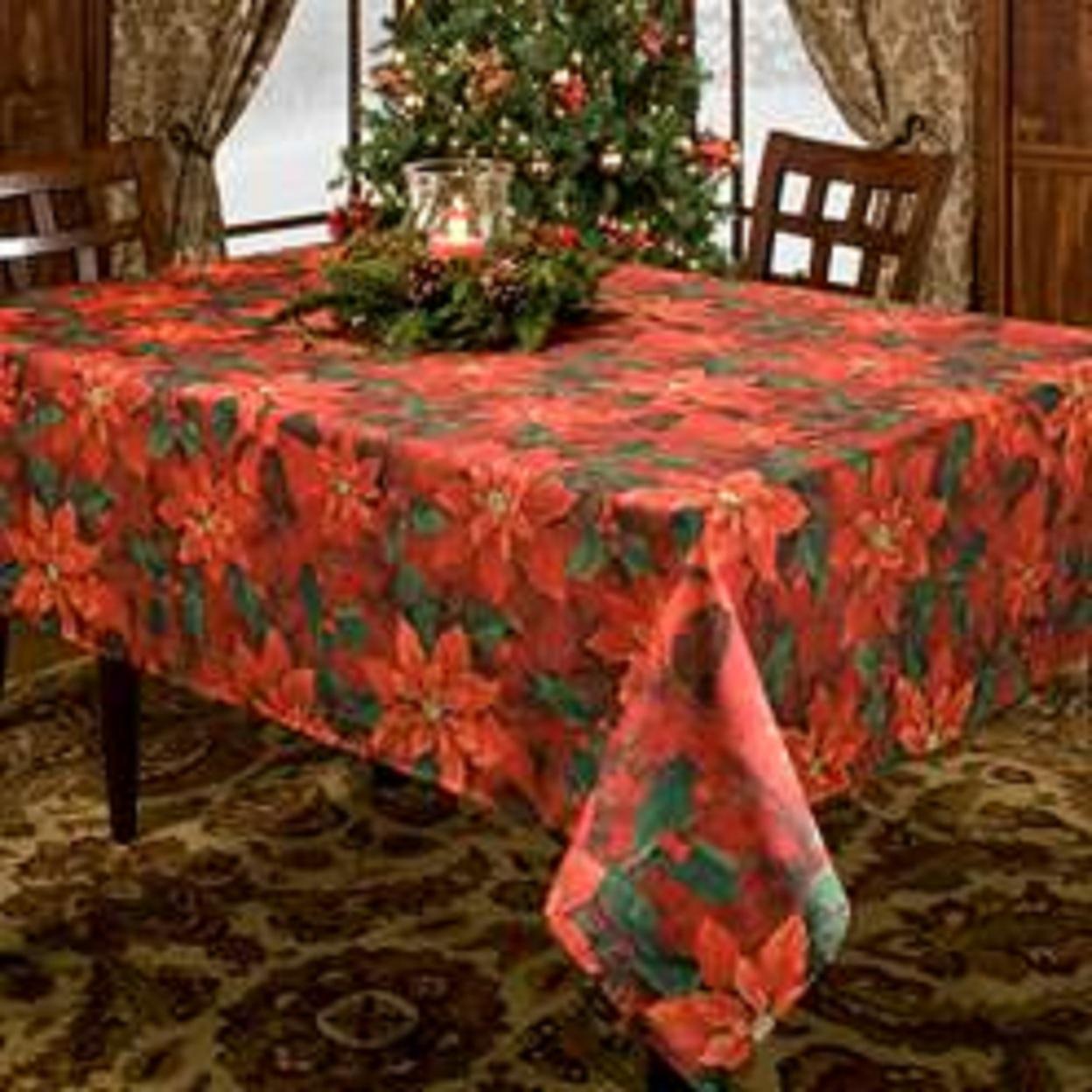 "POINSETTIAS ELEGANCE CHRISTMAS HOLIDAYS TABLECLOTH (sz 60""x 84"" - $26.99"