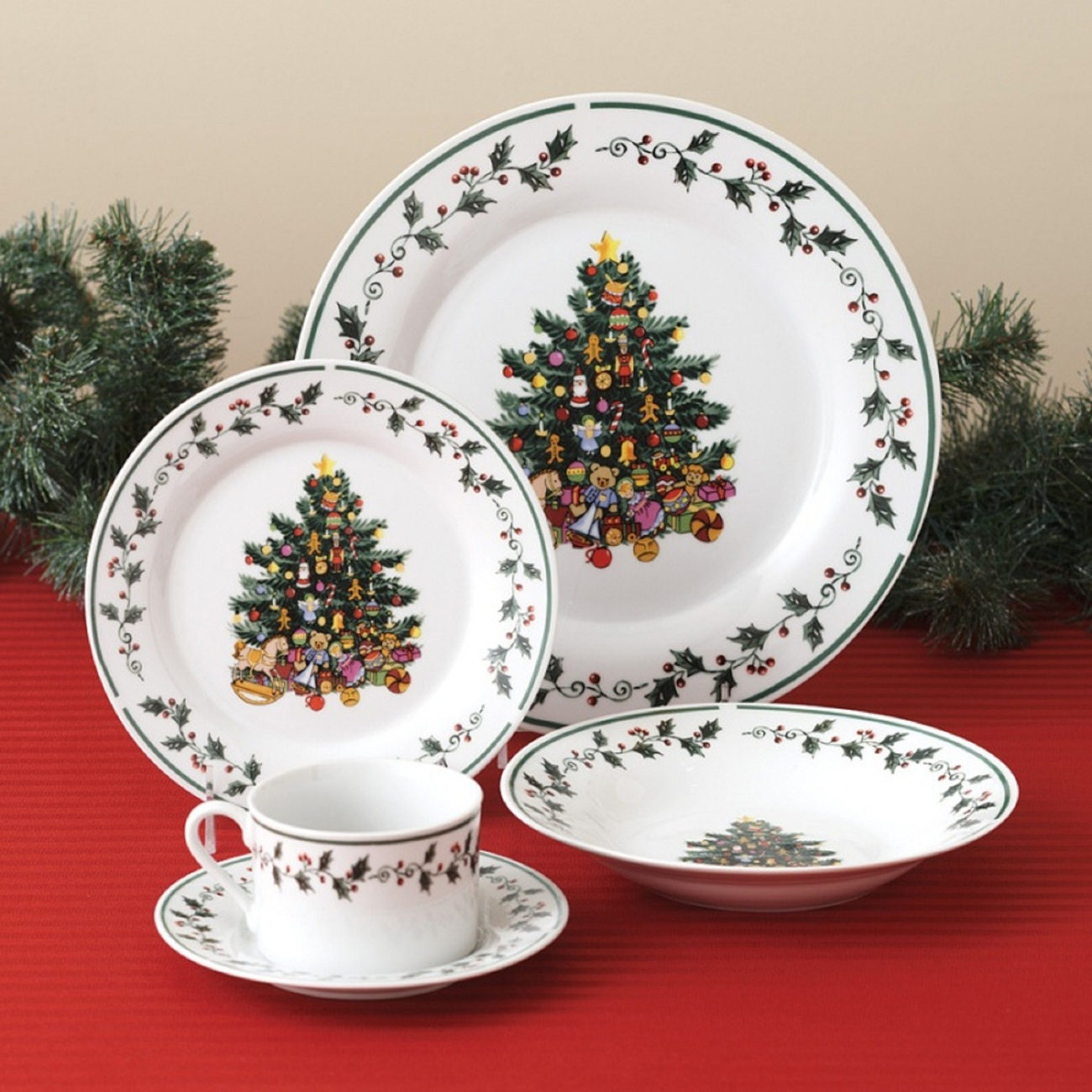 Primary image for Christmas  Holidays Tree Trimmings Holly  20 Piece Porcelain Dinnerware  Set Ser