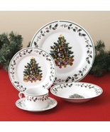 Christmas  Holidays Tree Trimmings Holly  20 Piece Porcelain Dinnerware ... - $79.99