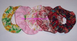 Hair Scrunchie Palm Tree Floral Rose Flower Scrunchies by Sherry Ponytail Holder - $6.99+