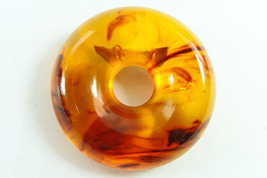 Vintage Amber Apple Juice Bakelite Round Dress Pin - $61.00