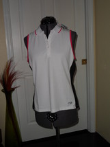 Fila Performa Shirt Size L White Pink Black Tennis Golf Nwt - $20.49