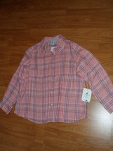 CARIBBEAN JOE BLOUSE TOP SIZE S  PINK PLAID NWT - $14.99