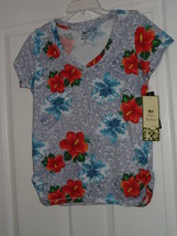 Palm Harbour Knit Top Shirt Size Ps Stretch Multi Color Floral Nwt - $15.79