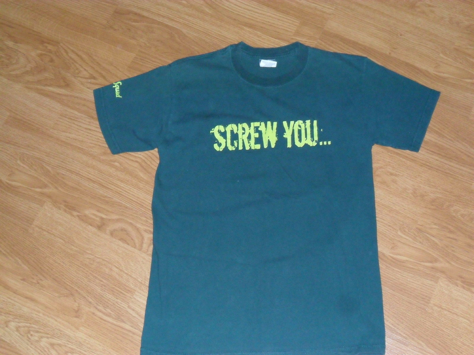 LADIES SHIRT SCREW YOU ORGY SQUAD SIZE S GREEN PRE OWNED - $8.99