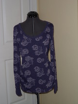 City Streets Knit Top Shirt Size L Junior Purple Floral Print Nwt - $15.79